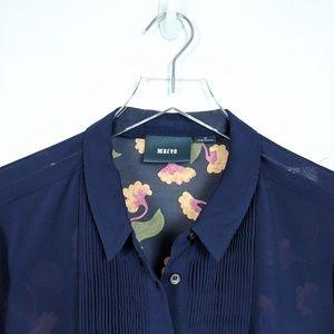 Anthropologie Tops - Maeve Anthropologie Navy Pintuck Sheer Floral Top